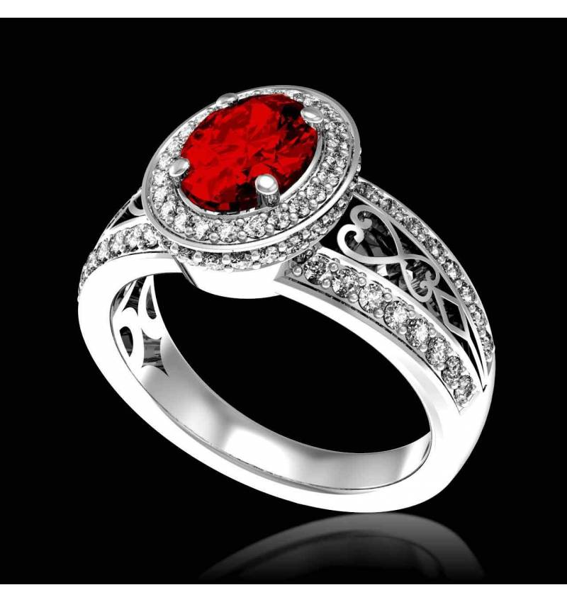 Ruby Engagement Ring Diamond Paving White Gold Tsarine