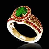 Emerald Engagement Ring Diamond Paving White Gold Tsarine