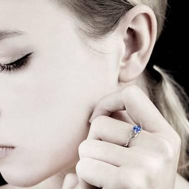 Blue Sapphire Engagement Ring White Gold Entrelassée