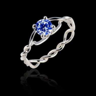 Blue Sapphire Engagement Ring White Gold Entrelassée