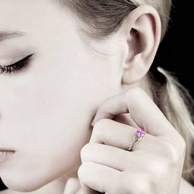 Pink Sapphire Engagement Ring White Gold Entrelassée