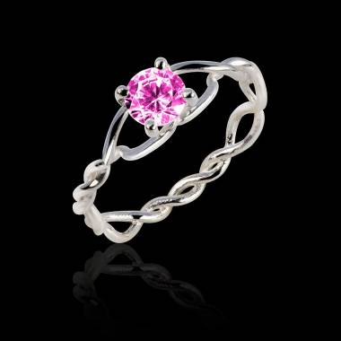 Pink Sapphire Engagement Ring White Gold Entrelassée