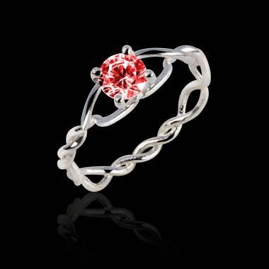 Ruby Engagement Ring White Gold Entrelassée