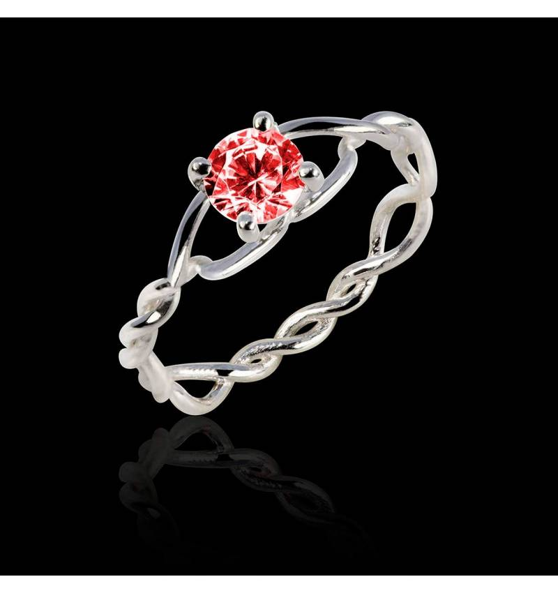 Ruby Engagement Ring White Gold Entrelassée