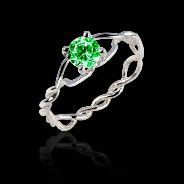 Emerald Engagement Ring White Gold  Entrelassée