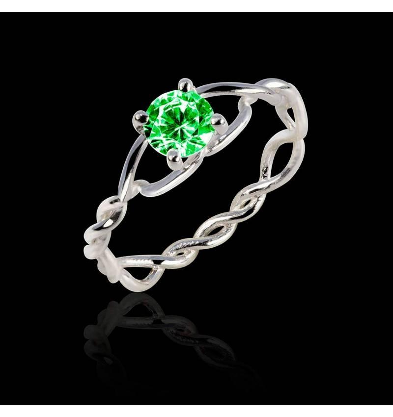 Emerald Engagement Ring White Gold  Entrelassée