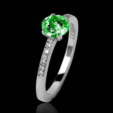 Emerald Engagement Ring Diamond Paving White Gold Judith