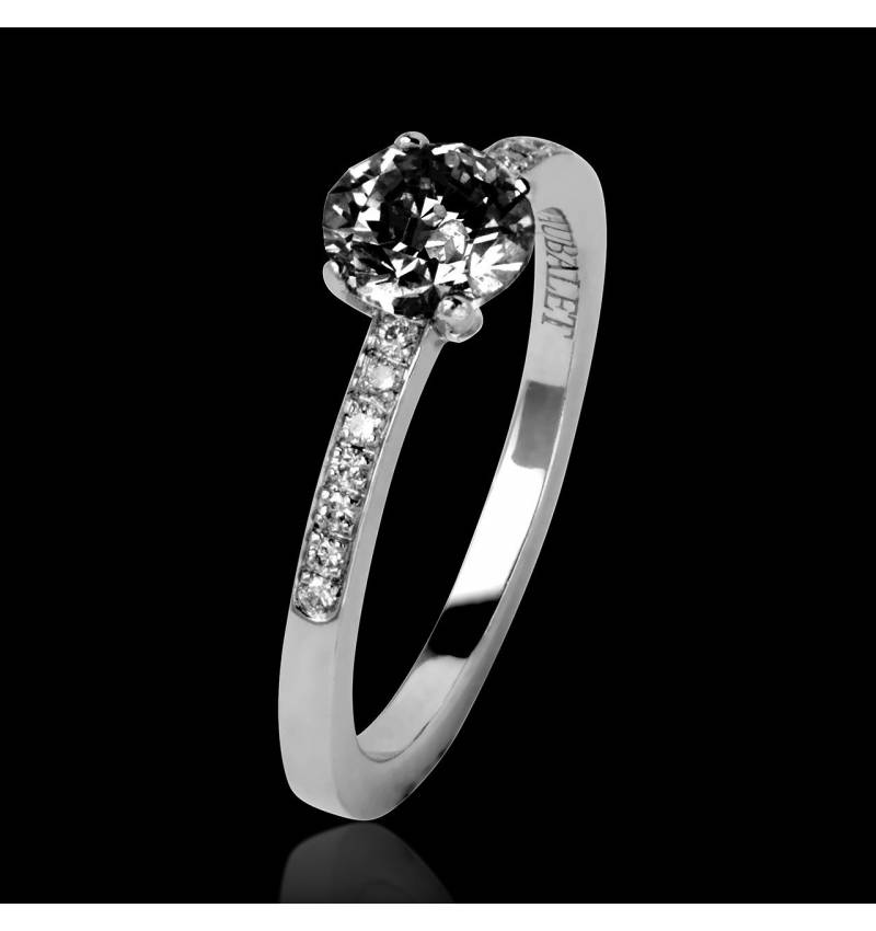 Black Diamond Engagement Ring Diamond Paving White Gold Judith