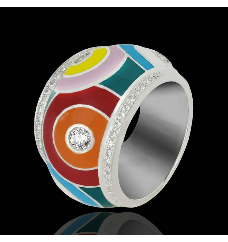 Diamond Engagement Ring Diamond Paving White Gold Color Pop
