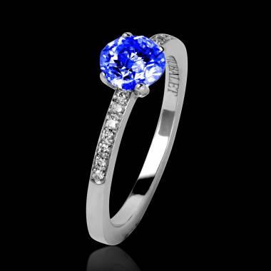 Blue Sapphire Engagement Ring Diamond Paving White Gold  Judith