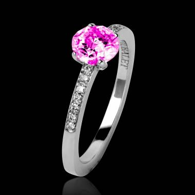 Pink Sapphire Engagement Ring Diamond Paving White Gold  Judith