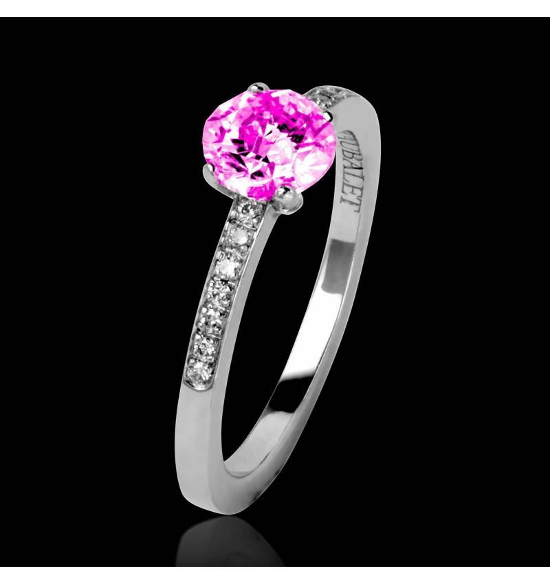 Pink Sapphire Engagement Ring Diamond Paving White Gold  Judith