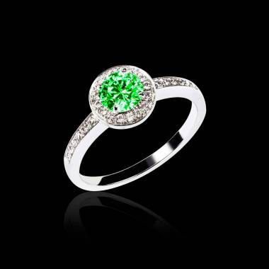 Emerald Engagement Ring Diamond Paving White Gold Rekha