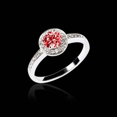 Ruby Engagement Ring Diamond Paving White Gold  Rekha