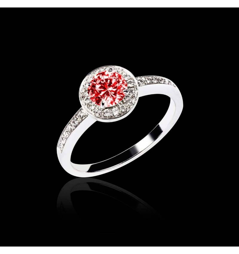 Ruby Engagement Ring Diamond Paving White Gold  Rekha