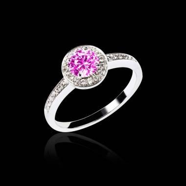 Pink Sapphire Engagement Ring Diamond Paving White Gold Rekha