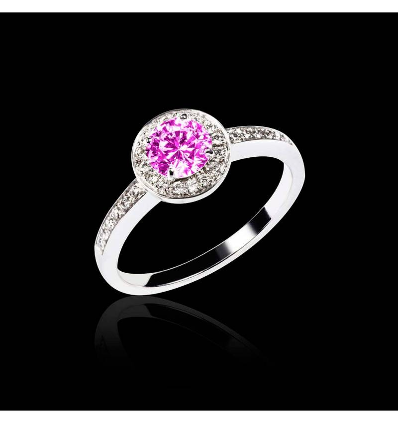 Pink Sapphire Engagement Ring Diamond Paving White Gold Rekha
