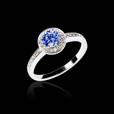 Blue Sapphire Engagement Ring Diamond Paving White Gold Rekha