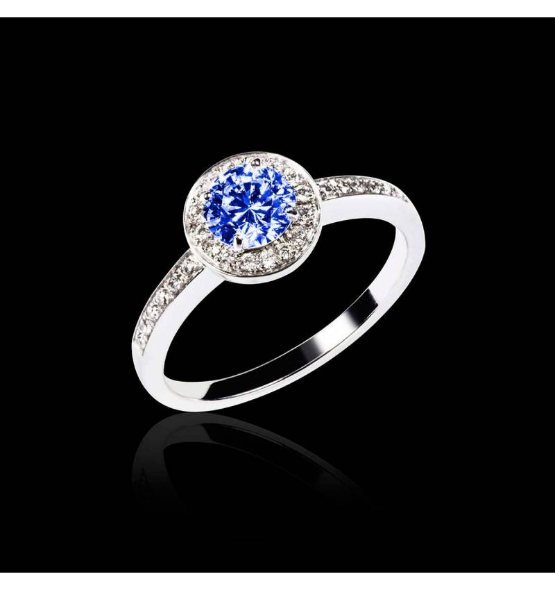 Blue Sapphire Engagement Ring Diamond Paving White Gold Rekha