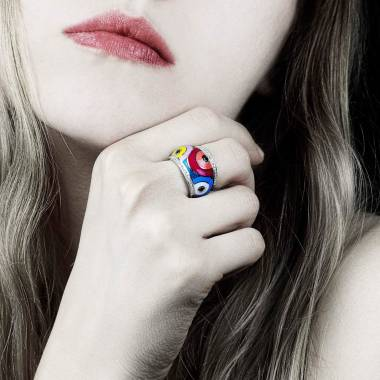 Black Diamond Engagement Ring Diamond Paving White Gold Color Pop