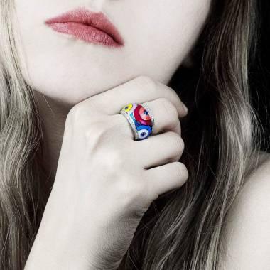 Blue Sapphire Engagement Ring Diamond Paving White Gold Color Pop