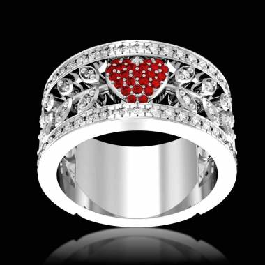 Ruby Engagement Ring Diamond Paving  White Gold  Flowers of Love
