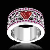 Ruby Engagement Ring Diamond Paving  White Gold  Flowers of Love