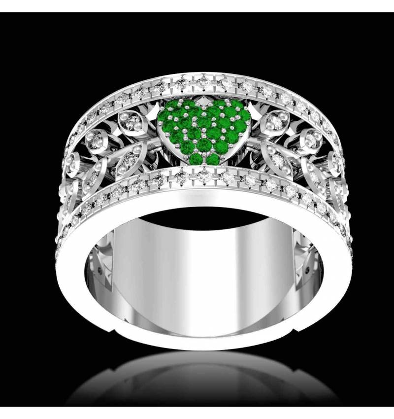 Emerald Diamond Ring Diamond Paving White Gold Flowers of Love