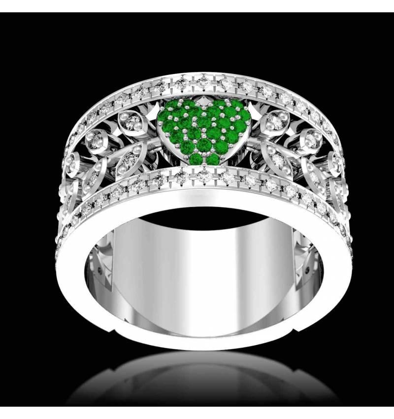 Emerald Diamond Ring Diamond Paving White Gold Flowers of Love