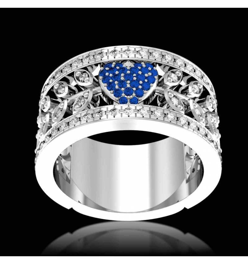 Blue Sapphire Engagement Ring Diamond Paving White Gold Flowers of Love