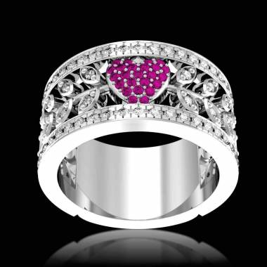 Pink Sapphire Engagement Ring Diamond Paving White Gold Flowers of Love