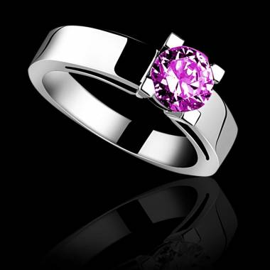 Pink sapphire engagement ring white gold Céline