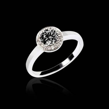 Black Diamond Engagement Ring Diamond Paving White Gold Rekha