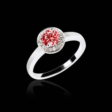 Ruby Engagement Ring Diamond Paving  White Gold  Rekha Solo