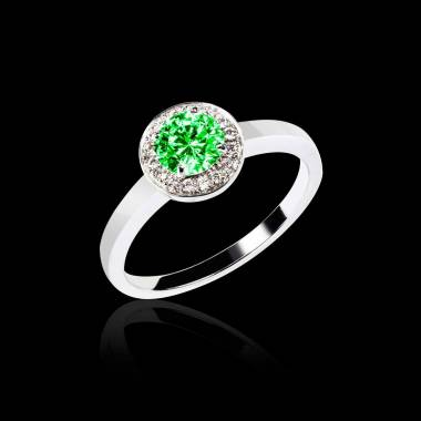 Emerald Engagment Ring Diamond Paving White Gold Rekha Solo