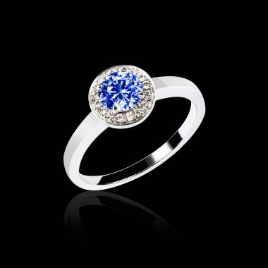 Blue Sapphire Engagement Ring Diamond Paving White Gold Rekha Solo