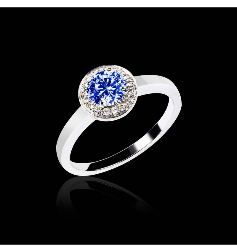 Blue Sapphire Engagement Ring Diamond Paving White Gold Rekha Solo