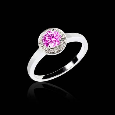 Pink Sapphire Engagement Ring Diamond Paving White Gold Rekha Solo