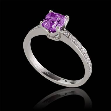 Pink sapphire engagement ring diamond paving white gold Sandy