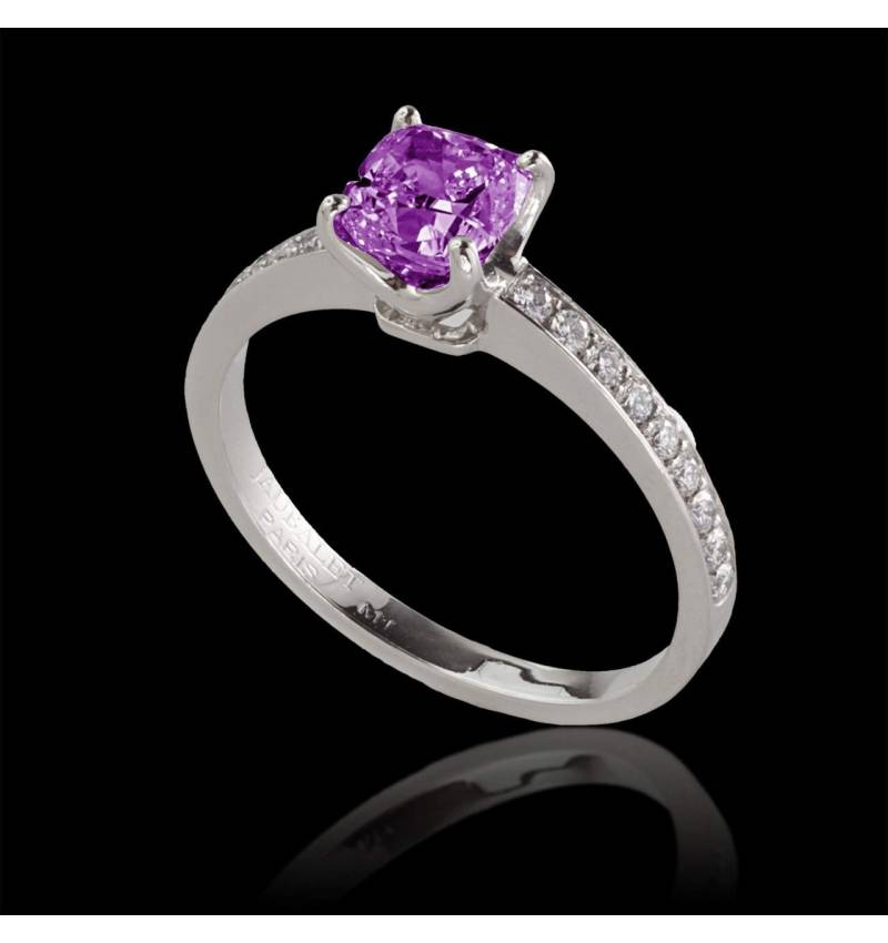 Pink sapphire engagement ring diamond paving white gold Sandy
