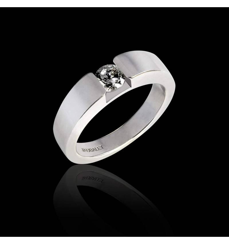 Round Black Diamond Engagement Ring White Gold Pyramide
