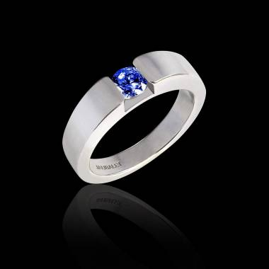 Round Blue Sapphire Engagement Ring White Gold Pyramide