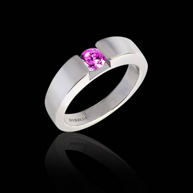 Round Pink Sapphire Engagement Ring White Gold Pyramide