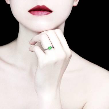 Emerald Engagement Ring Diamond Paving White Gold Judith