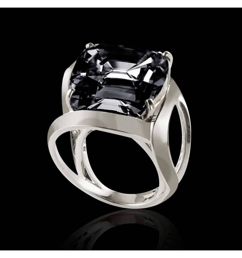 Cushion Black Diamond Engagement Ring White Gold Future Solo