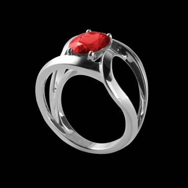 Round Ruby Engagement Ring White Gold Future Solo