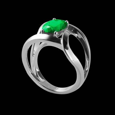 Round Emerald Engagement Ring White Gold Future Solo
