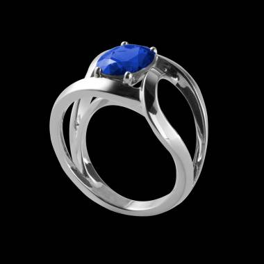 Round Blue Sapphire Engagement Ring White Gold Future Solo