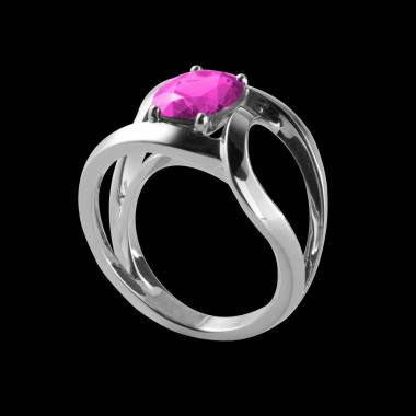 Round Pink Sapphire Engagement Ring White Gold Future Solo