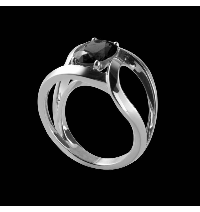 Round Black Diamond Engagement Ring  White Gold Future Solo
